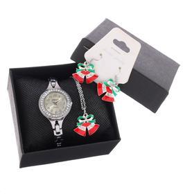 """Подарочный набор 3 в 1 """"Новый год"""": наручные часы d=2.7 см, серьги, кулон"""
