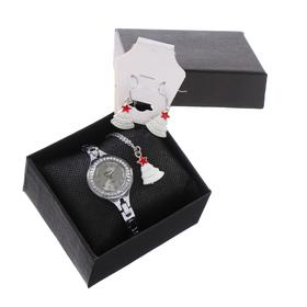 """Подарочный набор 3 в 1 """"Ёлочка"""": наручные часы d=2.7 см, серьги, кулон"""