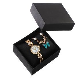 """Подарочный набор 2 в 1 """"Рождество"""": наручные часы d=2.7 см, кулон"""