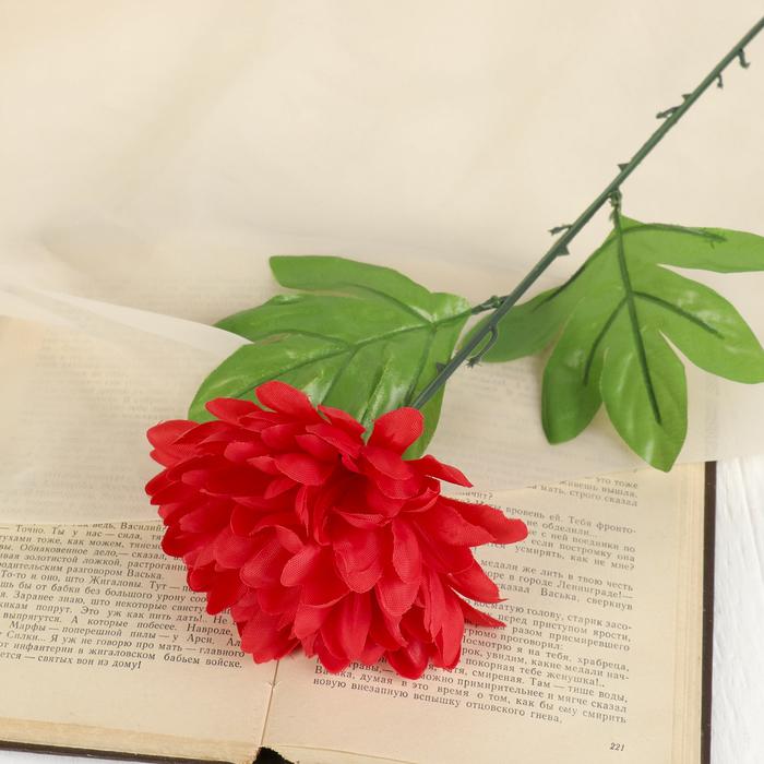 цветы искусственные (стебель-пластик,бутон-ткань) пион 46см, d-14 красный - фото 4455572