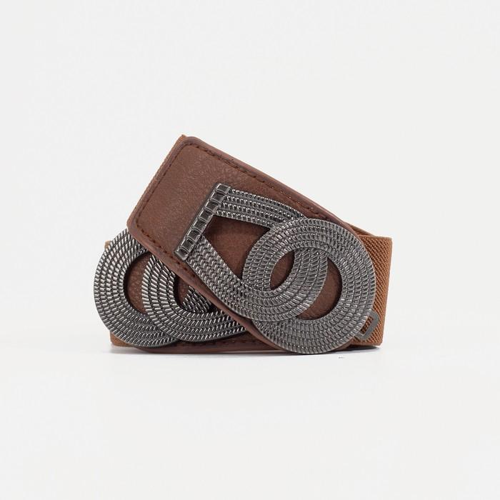 Ремень женский, ширина 3,8 см, резинка, пряжка серебро, цвет коричневый - фото 1160487