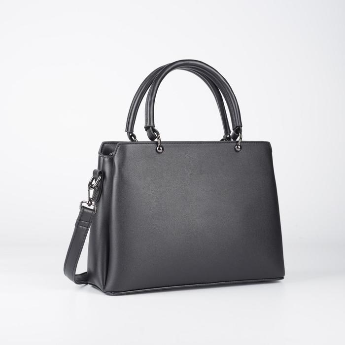 Сумка женская, отдел на молнии, наружный карман, длинный ремень, цвет чёрный - фото 770053