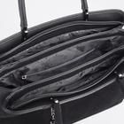 Сумка женская, отдел на молнии, 2 наружных кармана, длинный ремень, цвет чёрный - фото 770079