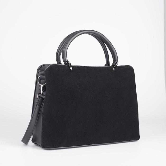 Сумка женская, отдел на молнии, наружный карман, длинный ремень, цвет чёрный - фото 52089