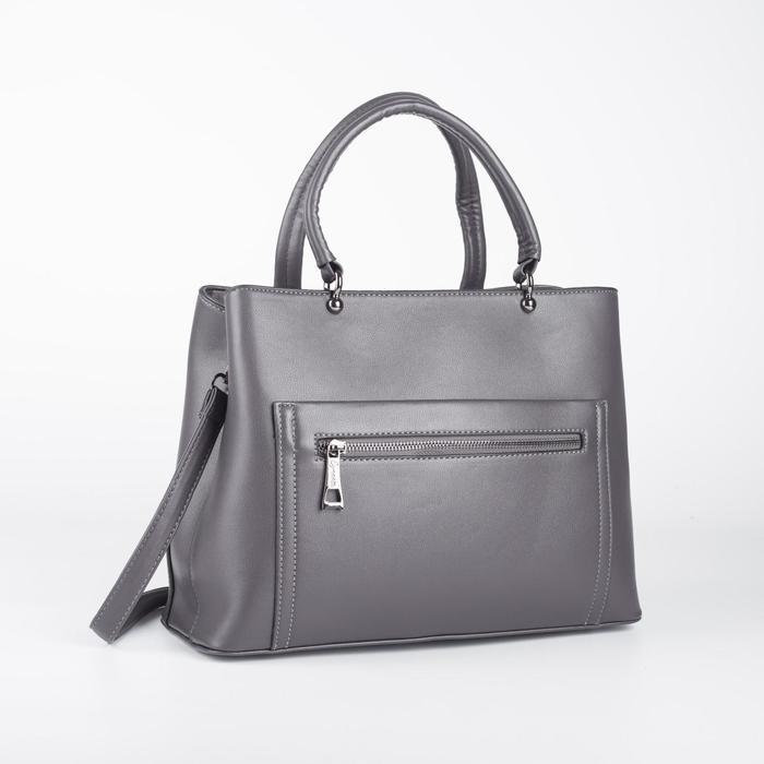 Сумка женская, отдел на молнии, 2 наружных кармана, цвет серый - фото 52121