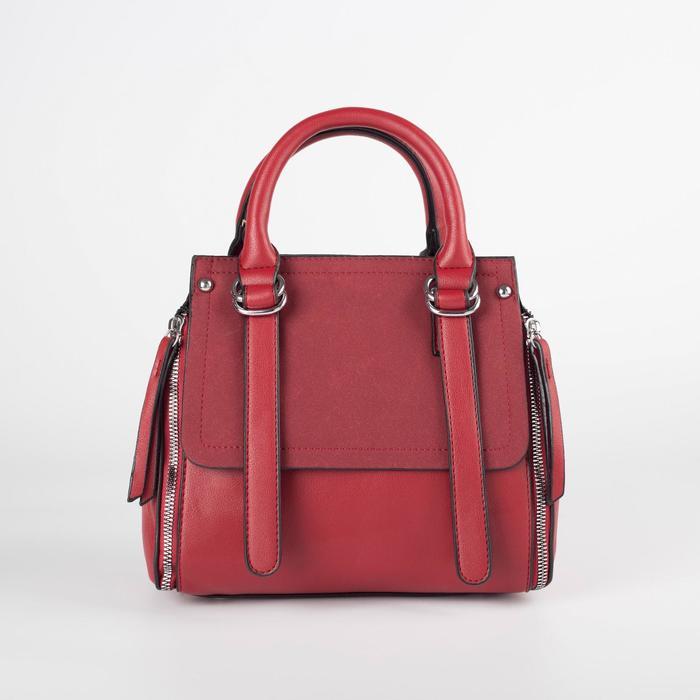 Сумка женская, отдел на молнии, наружный карман, длинный ремень, цвет красный - фото 770365
