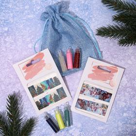 Nail art set: 2pcs stickers, 3But small sequins, 3But broth MIX #2, canvas / mesh