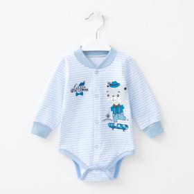 Боди с длинным рукавом Little Gentlemen, цвет голубой/полоска, рост 56 см