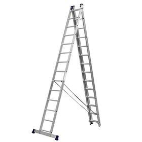"""Лестница """"СИБИН"""" 38833-14, трехсекционная, со стабилизатором, 14 ступеней"""