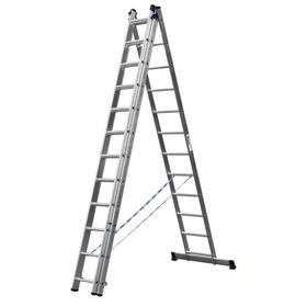 """Лестница """"СИБИН"""" 38833-12, трехсекционная, со стабилизатором, 12 ступеней"""