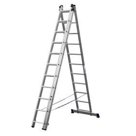 """Лестница """"СИБИН"""" 38833-11, трехсекционная, со стабилизатором, 11 ступеней"""