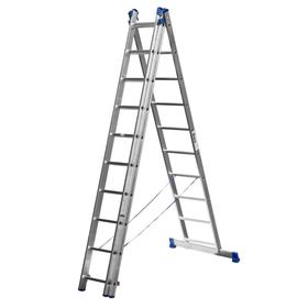 """Лестница """"СИБИН"""" 38833-10, трехсекционная, со стабилизатором, 10 ступеней"""