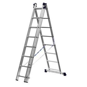 """Лестница """"СИБИН"""" 38833-08, трехсекционная, со стабилизатором, 8 ступеней"""
