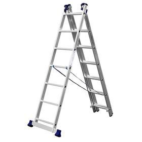"""Лестница """"СИБИН"""" 38833-07, трехсекционная, со стабилизатором, 7 ступеней"""