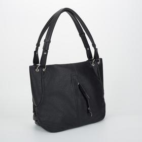 Сумка женская, отдел на молнии, 2 наружных кармана, цвет чёрный