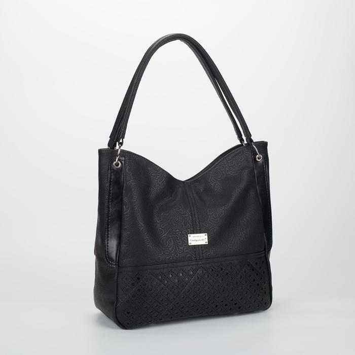 Сумка женская, отдел на молнии, наружный карман, длинный ремень, цвет чёрный - фото 770894