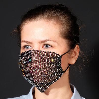 Decorative mask, semi-transparent, rainbow color in black