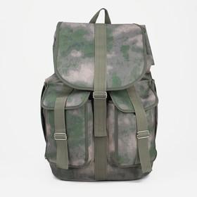 Рюкзак туристический, отдел на шнурке, 3 наружных кармана, цвет зелёный