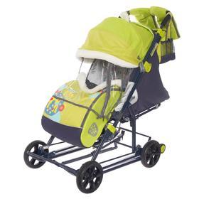 Санки-коляска «Ника детям 8-2» с жирафом, цвет жёлто-зелёный