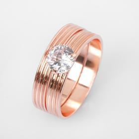 """Кольцо """"Кристаллик"""" линии, цвет белый в розовом золоте, размер 17"""
