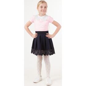 Блузка для девочек с коротким рукавом, рост 122 см, цвет розовый