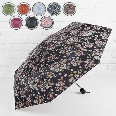 Зонт механический «Цветы», 3 сложения, 8 спиц, R = 48 см, цвет МИКС