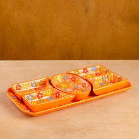 """Менажница прямоугольная 34,5*17см """"Рельеф оранжевый"""""""