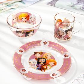 Набор посуды детский Priority «Царевны», 3 предмета