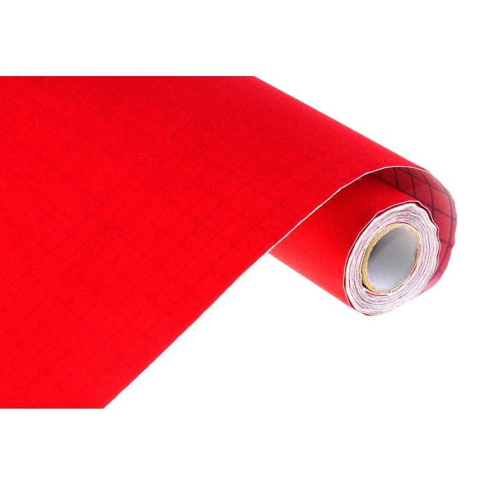 Пленка самоклеящаяся бархатная красная 0,45м х3м 18мкр