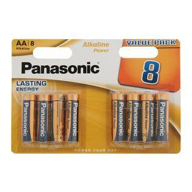 Батарейка алкалиновая Panasonic Alkaline Power, AA, R06-8BL, 1.5В, блистер, 8 шт.