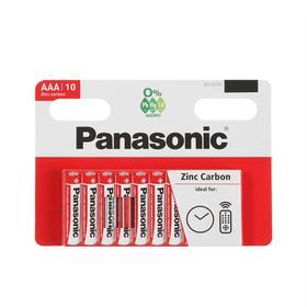 Батарейка солевая Panasonic Zinc Carbon, AAA, R03-10BL, 1.5В, блистер, 10 шт.