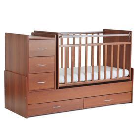 Кровать детская СКВ-5, опуск.бок., маятник, 5 ящиков, орех