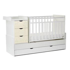 Кровать детская СКВ-5 Жираф, опуск.бок., маятник, 4 ящика, белый+ясень крем