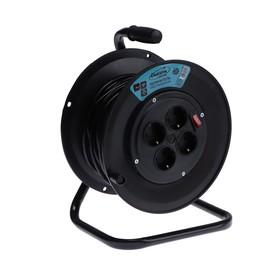 Удлинитель на катушке Luazon Lighting, 4 розетки, 25 м, 10 А, ПВС 3х0.75 мм2, с з/к, IP20 Ош