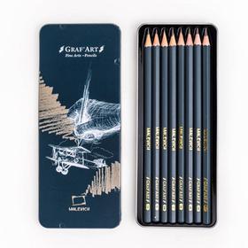 Набор чернографитных карандашей разной твёрдости «Малевичъ» Graf'Art, 8 штук, 8B-2H, в металлической коробке