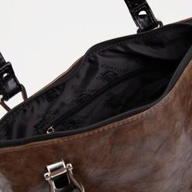 Сумка женская, отдел на молнии, наружный карман, цвет коричневый - фото 54119