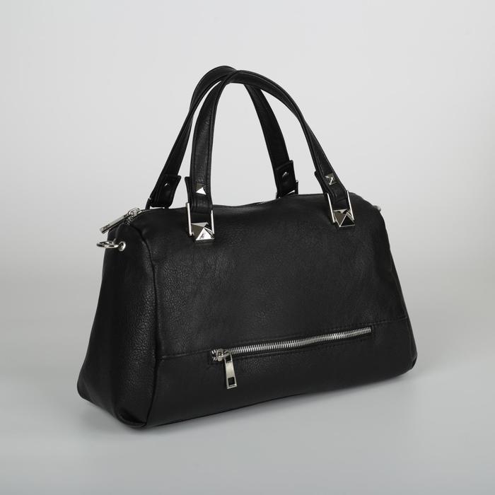 Сумка женская, 2 отдела на молнии, 2 наружных кармана, регулируемый ремень, цвет чёрный - фото 771893