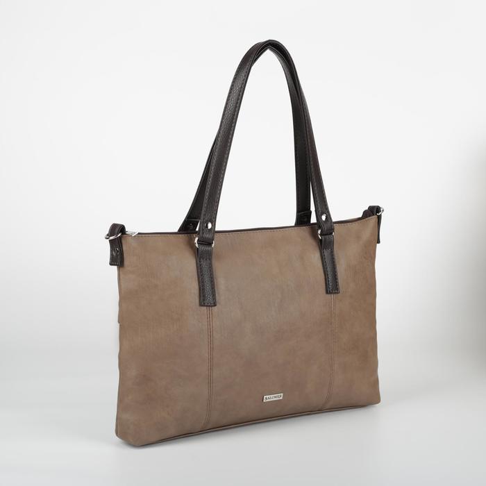 Сумка-шопер, отдел на молнии, наружный карман, длинный ремень, цвет коричневый - фото 771933