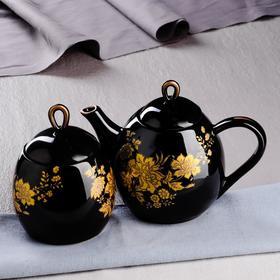 """Набор чайный """"Петелька"""" чайник 0,8 л, сахарница 0,5 л, черный"""