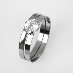 """Кольцо """"Кристаллик"""" двойное, цвет белый в сером металле, размер 19"""