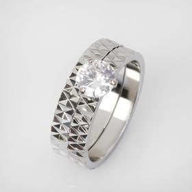 """Кольцо """"Кристаллик"""" узоры, цвет белый в серебре, размер 19"""