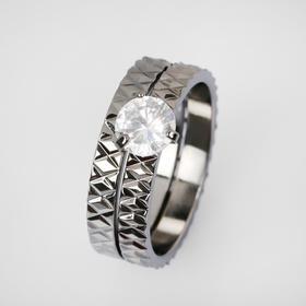 """Кольцо """"Кристаллик"""" узоры, цвет белый в сером металле, размер 19"""