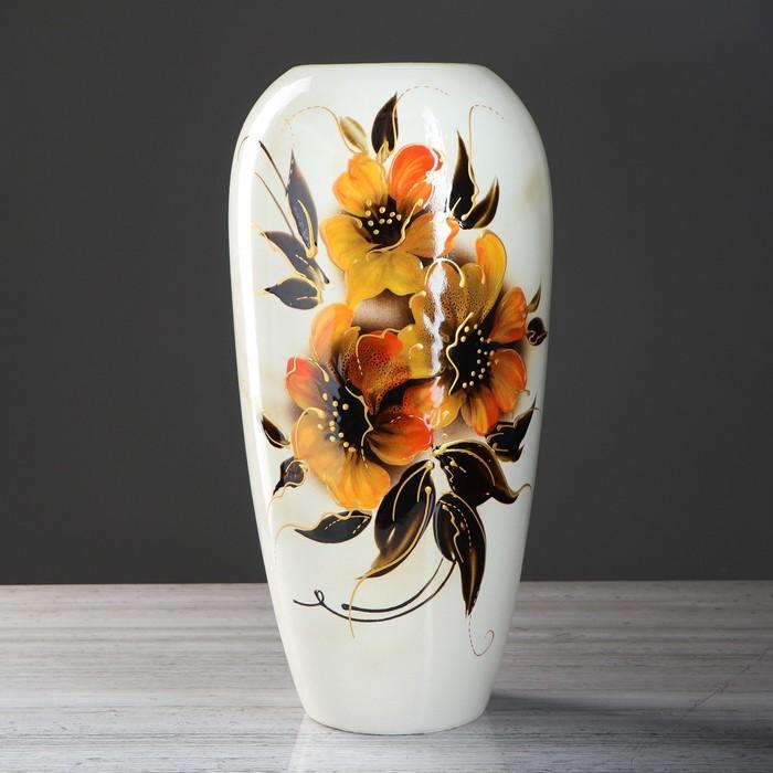 "Ваза напольная ""Аурика"", цветы, белая, 44 см, микс, керамика"