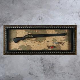 Панно с двустволкой и ножом на карте мира, 8х57х114 см
