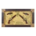 Сувенирное изделие в раме, четыре мушкета на карте мира