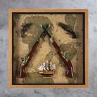 Панно 2 больших и 2 мини мушкета + Корабль на карте мира, 8х70х70 см - фото 875123