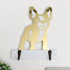 "Hooks decorative wood ""Bulldog"" mirror 16, 5x14x3 cm"