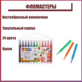 24-color markers in a plastic pencil case, with a brush-shaped tip, triangular case