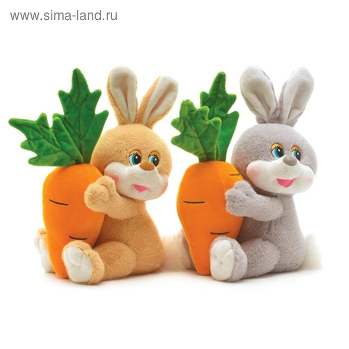 Мягкая игрушка «Заяц с большой морковкой» музыкальная, цвета МИКС