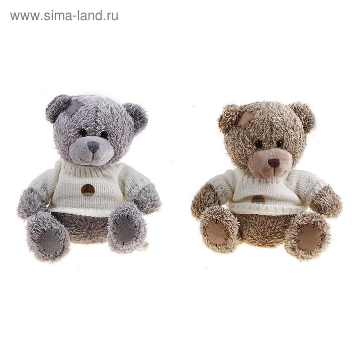 Мягкая игрушка «Медвежонок лохматый в свитере» музыкальная, цвета МИКС